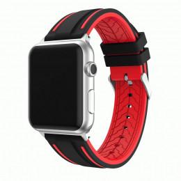 Черно-красный двойной силиконовый ремешок для Apple Watch 0066-01-1