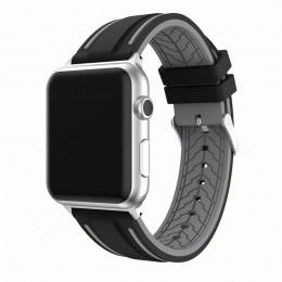 Черно-серый двойной силиконовый ремешок для Apple Watch 0066-01-4