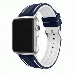 Сине-белый двойной силиконовый ремешок для Apple Watch 0066-01-6