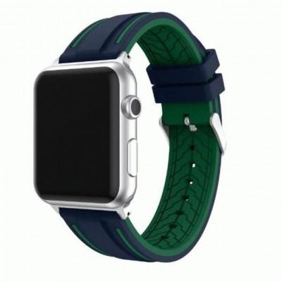 Сине-зеленый двойной силиконовый ремешок для Apple Watch 0066-01-7