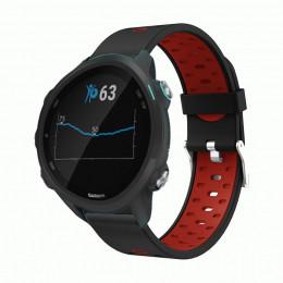 Черно-красный силиконовый двухцветный ремешок для Garmin Forerunner 245/645 0067-02-2
