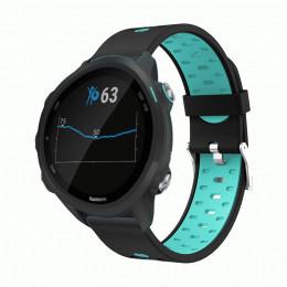Черно-голубой силиконовый двухцветный ремешок для Garmin Forerunner 245/645 0067-02-4