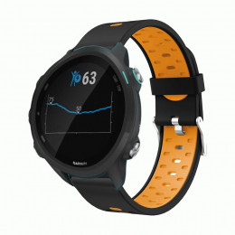 Черно-оранжевый силиконовый двухцветный ремешок для Garmin Forerunner 245/645 0067-02-5