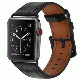 Черный кожаный ремешок с бамбуковым узором для Apple Watch 0071-01-1