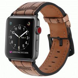 Кофейный кожаный ремешок с бамбуковым узором для Apple Watch 0071-01-3