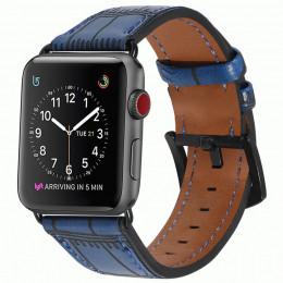 Синий кожаный ремешок с бамбуковым узором для Apple Watch 0071-01-4