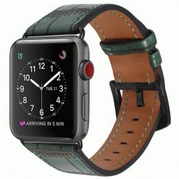 Зеленый кожаный ремешок с бамбуковым узором для Apple Watch 0071-01-5
