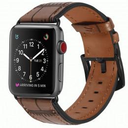 Светло-коричневый кожаный ремешок с бамбуковым узором для Apple Watch 0071-01-6