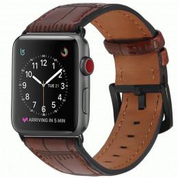 Темно-коричневый кожаный ремешок с бамбуковым узором для Apple Watch 0071-01-7
