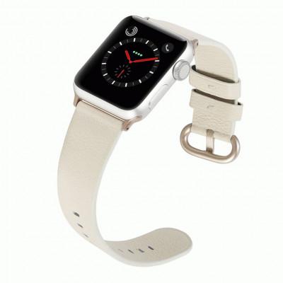 Белый классический кожаный ремешок для Apple Watch 0073-01-3