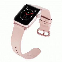 Розовый классический кожаный ремешок для Apple Watch 0073-01-4