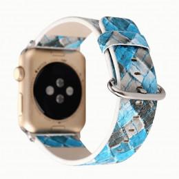Синий ромбовидный кожаный ремешок для Apple Watch 0074-01-2