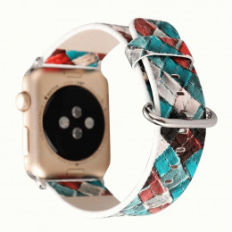 Красно-синий кожаный ремешок для Apple Watch 0074-01-4