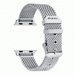 Серебряный сетчатый стальной ремешок из нержавеющей стали для Apple Watch 0076-01-2
