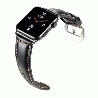 Черный кожаный выпуклый ремешок для Apple Watch 0082-01-2