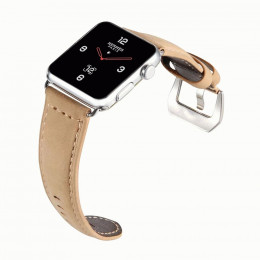 Бежевый кожаный выпуклый ремешок для Apple Watch 0082-01-3