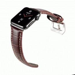 Коричневый кожаный выпуклый ремешок для Apple Watch 0082-01-4