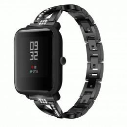 Черный X-образный металлический ремешок из нержавеющей стали для Xiaomi Amazfit Bip 0085-02-1