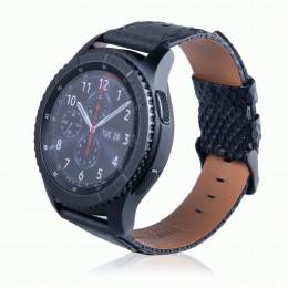 Черный двухцветный кожаный ремешок для Samsung Gear S3/Galaxy Watch 46мм 0087-01-2