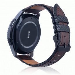 Черно-коричневый двухцветный кожаный ремешок для Samsung Gear S3/Galaxy Watch 46мм 0087-01-3