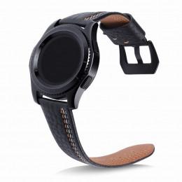 Черный классический кожаный ремешок с тройной строчкой для Samsung Gear S3/Galaxy Watch 46мм 0088-01-1
