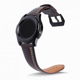 Кофейный классический кожаный ремешок с тройной строчкой для Samsung Gear S3/Galaxy Watch 46мм 0088-01-2