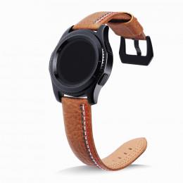 Коричневый классический кожаный ремешок с тройной строчкой для Samsung Gear S3/Galaxy Watch 46мм 0088-01-3