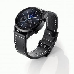 Черный классический кожаный ремешок с белой строчкой для Samsung Gear S3/Galaxy Watch 46мм 0092-01-1