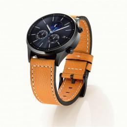 Светло-коричневый классический кожаный ремешок с белой строчкой для Samsung Gear S3/Galaxy Watch 46мм 0092-01-2