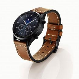 Коричневый классический кожаный ремешок с белой строчкой для Samsung Gear S3/Galaxy Watch 46мм 0092-01-3