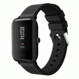 Черный текстурированный силиконовый ремешок для Xiaomi Amazfit Bip 0092-02-5