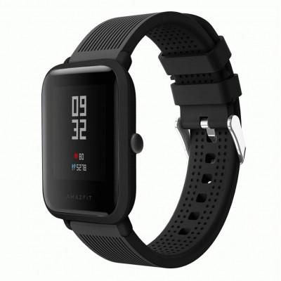 Черный текстурированный силиконовый ремешок для Xiaomi Amazfit Bip / GTS 0092-02-5