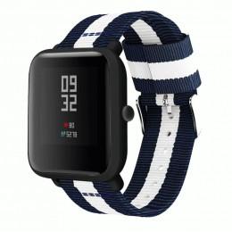 Сине-белый нейлоновый полосатый ремешок для Xiaomi Amazfit Bip 0093-02-1