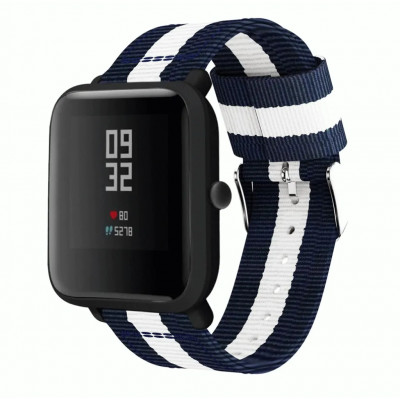 Сине-белый нейлоновый полосатый ремешок для Xiaomi Amazfit Bip / GTS 0093-02-1