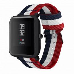 Красно-бело-синий нейлоновый полосатый ремешок для Xiaomi Amazfit Bip / GTS 0093-02-2