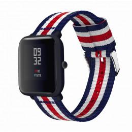 Сине-бело-красный нейлоновый полосатый ремешок для Xiaomi Amazfit Bip / GTS 0093-02-5