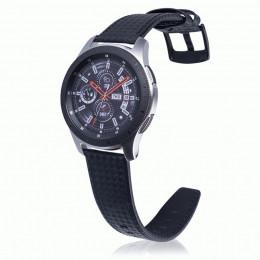 Черный с черной строчкой ремешок из натуральной кожи для Samsung Gear S3/Galaxy Watch 46мм 0105-01-1
