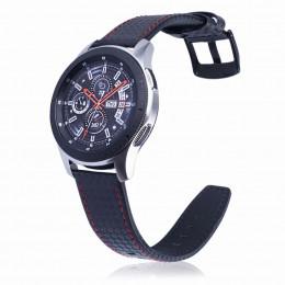 Черный с красной строчкой ремешок из натуральной кожи для Samsung Gear S3/Galaxy Watch 46мм 0105-01-2