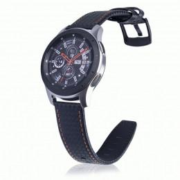Черный с оранжевой строчкой ремешок из натуральной кожи для Samsung Gear S3/Galaxy Watch 46мм 0105-01-3