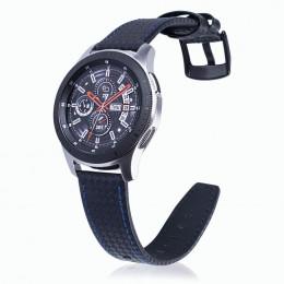 Черный с синей строчкой ремешок из натуральной кожи для Samsung Gear S3/Galaxy Watch 46мм 0105-01-4