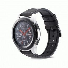 Черный кожаный ремешок с силиконовой вставкой для Samsung Gear S3/Galaxy Watch 46мм 0107-01-1