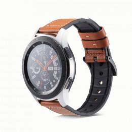 Темно-коричневый кожаный ремешок с силиконовой вставкой для Samsung Gear S3/Galaxy Watch 46мм 0107-01-2
