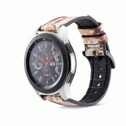 Коричневый камуфляжный кожаный ремешок с силиконовой вставкой для Samsung Gear S3/Galaxy Watch 46мм 0107-01-6