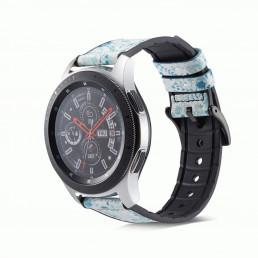 Голубой кожаный ремешок с силиконовой вставкой для Samsung Gear S3/Galaxy Watch 46мм 0107-01-8
