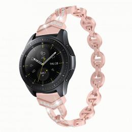 Розовый металлический быстросъемный ремешок со стразами для Samsung Gear/Galaxy Watch 42мм-46мм 0108-01-4