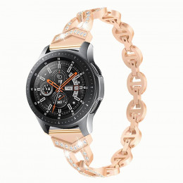 Розовое золото металлический быстросъемный ремешок со стразами для Samsung Gear/Galaxy Watch 42мм-46мм 0108-01-5