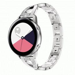 Серебряный металлический быстросъемный ремешок для Samsung Galaxy Watch 42мм/Gear Sport/Gear S2 Classic 0113-01-4