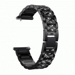 Черный металлический бриллиантовый ремешок для Samsung Gear S3/Galaxy Watch 46мм 0115-01-1