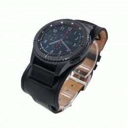 Черный двойной кожаный ремешок для Samsung Gear S3/Galaxy Watch 46мм 0118-01-1