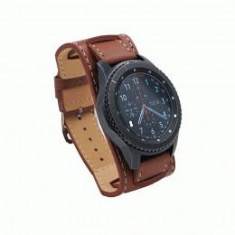 Коричневый двойной кожаный ремешок для Samsung Gear S3/Galaxy Watch 46мм 0118-01-3